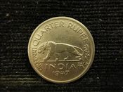 India, George VI, 1/4 Rupee 1947, VF, TR1067